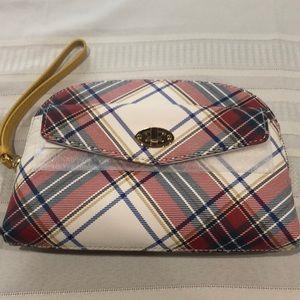 Talbots Zip Top Wristlet w/ pocket - Ivory Multi